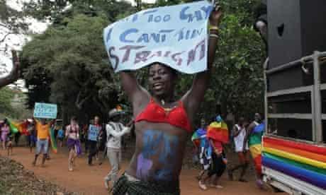 An activist at Uganda's first gay pride parade in Kampala this August