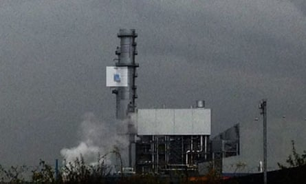 Protesters on West Burton power station highlighted
