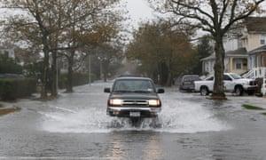 Flooding in Long Beach, New York state. Heavy rain was falling in advance of Hurricane Sandy.