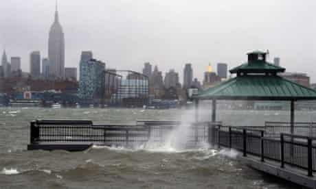 The New York city skyline and Hudson River are seen from Hoboken, NJ as Hurricane Sandy approaches.