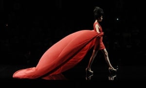 A model showcases creations from a Chinese designer for the Koradior Fang Ying Collection during the China Fashion Week in Beijing.