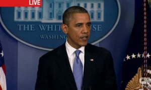 President Obama delivers a briefing on Hurricane Sandy at the White House, Monday, October 29, 2012, in a screen grab from CNN.