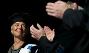 Managing Director of the IMF, Christine Lagarde, is applauded after receiving an honorary doctorate from the Catholic University of Leuven in Kortrijk, Belgium.