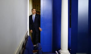 Hurricane news: President Barack Obama enters the White House Briefing Room in Washington to brief reporters after returning to the White House from a campaign stop in Florida to monitor Hurricane Sandy.