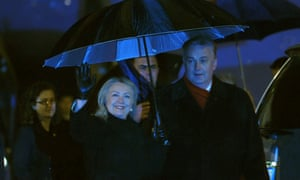 Welcome to Sarajevo: Bosnia and Herzegovina's Minister of Foreign Affairs Zlatko Lagumdzija greets US Secretary of State Hillary Clinton at Sarajevo international airport. Clinton arrived in Bosnia to kick off a five-nation Balkans tour during which she will push for greater integration of the volatile region into the EU and NATO.