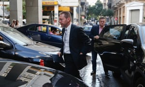 Greece's Finance Minister Yannis Stournaras arrives at the finance ministry in Athens October 3, 2012.