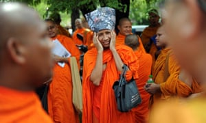 Bangladeshi monks living in Thailand hold a demonstration in Bangkok calling for an end to attacks against Buddhist communities in Bangladesh.