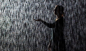 Its raining again!: 100 square metre field of falling water which parts as visitors walk underneath, at the Barbican 'Rain Room' by artists Random International.