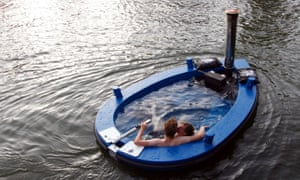 Sailing style: a wood-fired hot tub in which people can sail. The team at Hot Tug in The Netherlands have created a hot tub boat, which will easily ferry six to eight passengers.