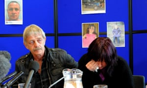 The search for April Jones continues. Coral Jones, the mother of missing school girl April Jones, reacts as she attends at a news conference with April's step-grandfather, Dai Smith, in Aberystwyth, mid Wales.