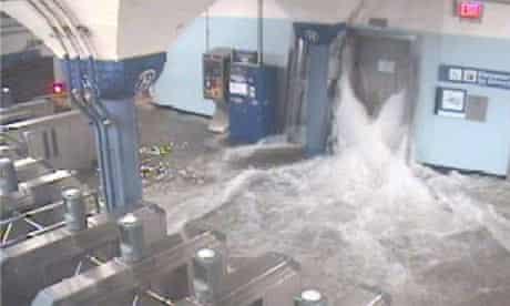 PATH train station flooding in Hoboken, NJ