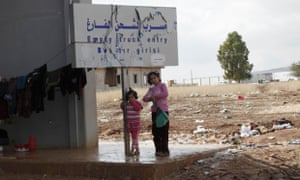 Syrian refugees at a refugee camp on the border between Turkey and Syria.