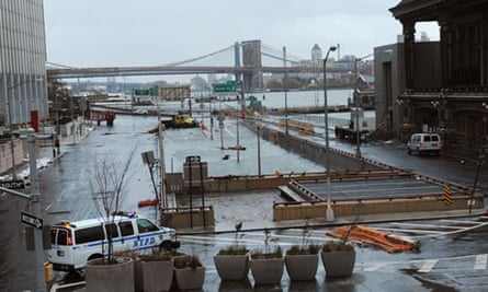 Flooded Battery Park underpass in New York