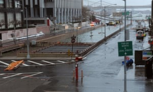 Hurricane Sandy floods reach the street level of the flooded Battery Park underpass, which leads to the Brooklyn-Battery tunnel in New York.