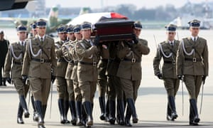 Coffin with the body of late Polish President Lech Kaczynski