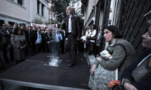 Greek bank pensioners and employees gather outside their union offices in Athens on October 30, 2012,