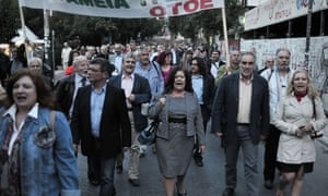 Greek banks pensioners and employees march in central in Athens on October 30, 2012,