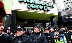 Starbucks TUC protest Oxford Street