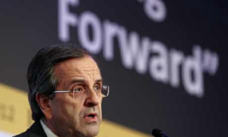 Greece's Prime Minister Antonis Samaras delivers a speech in a forum of International Herald Tribune in Athens.