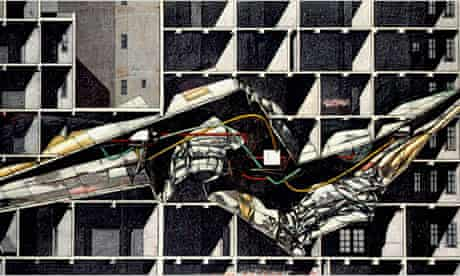 """""""Berlin Free-Zone 3-2,"""" a 1990 proposal by Lebbeus Woods for an abandoned government building in reunified Berlin"""