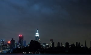 Much of the New York City skyline sits in darkness after Hurricane Sandy.