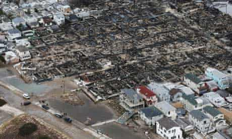 Remains of burnt homes in the Breezy Point neighborhood of Queens, New York City