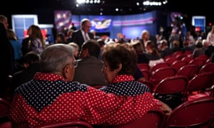 Joe and Lilly Nunez of Littleton, CO talk with each prior to the presidential debate at the University of Denver.