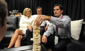 Mitt Romney and his wife Ann watch their children play a game before the start of the first presidential debate.
