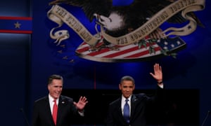 Barack Obama and Mitt Romney come on stage for the start of the first presidential debate.