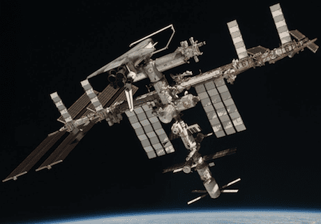 The International Space Station hangs in space.