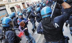 Italian riot police clash with demonstrators during a student protest in Turin, Italy, 05 October 2012. Police arrested several people when scuffles broke out as students protested against austerity measures.