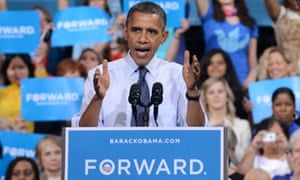 President Barack Obama delivers remarks at a campaign event at George Mason University in Fairfax, Virginia.
