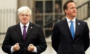 With fellow Tory and rival Boris Johnson.