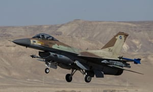 An Israeli air force F-16 fighter jet