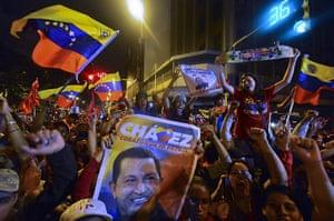Venezuela elections: Supporters of Venezuelan President Hugo Chavez celebrate