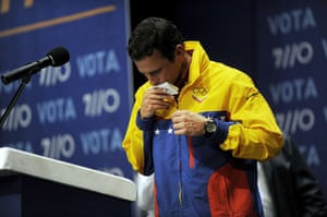 Venezuela elections: Presidential candidate Henrique Capriles after speaking to supporters