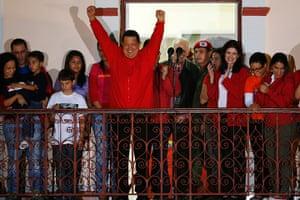 Venezuela elections: President Hugo Chavez celebrates at the Miraflores Palace