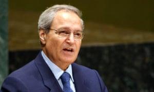 Farouq al-Sharaa addressing the UN in 2003.