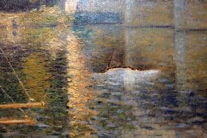 Defaced art: A 10-centimeter tear is seen in Claude Monet's Le Pont d'Argenteuil