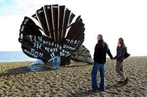 Defaced art: Maggi Hambling's Scallop sculpture