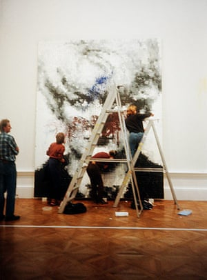 Defaced art: Myra Hindley portrait by Marcus Harvey being cleaned