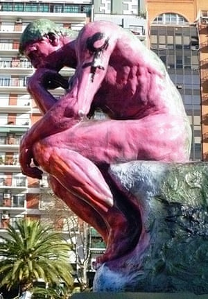 Defaced art: August Rodin's signed replica of The Thinker which was defaced
