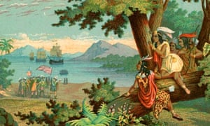 An illustration of Christopher Columbus arriving in the New World from circa 1900.