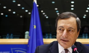 European Central Bank (ECB) President Mario Draghi speaks during the European Parliament's Economic and Monetary Affairs Committee in Brussels October 9, 2012.