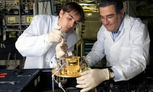 Serge Haroche, winner of 2012 Nobel prize in physics, with Igor Dotsenko