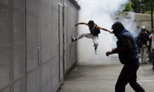 Demonstrators clashes with riot police during a protest against the visit to Greece by Germany's Chancellor Angela Merkel October 9, 2012 in Athens, Germany.
