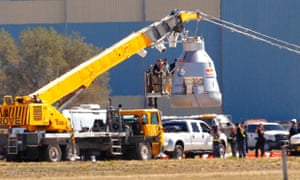 Felix Baumgartner disembarks from the balloon capsule after his mission was aborted in Roswell, N.M. Baumgartner was attempting to break the speed of sound with his own body by jumping from the capsule lifted 23 miles high by a 30 million cubic foot helium balloon.