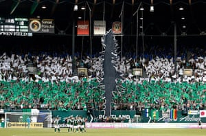 Tifo: Fans of the Portland Timbers raise a tifo