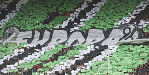 Tifo: Hanover fans display a giant Europa 96 sign