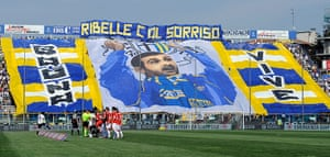 Tifo: Parma FC fans hold up a banner